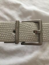 Calvin Klein White  Leather  Ladies Belt Medium Silver Buckle