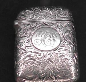 Solid Silver Vesta Dates 1892 by Sampson Mordan & Co