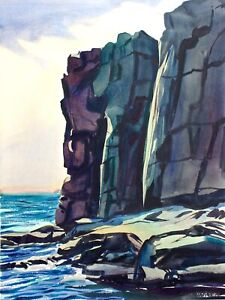 Maine Watercolor Seascape, Otter Cliffs in the Afternoon,  Acadia National Park