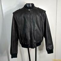 Vtg 80s RAF Cafe Racer Leather MOTORCYCLE Biker JACKET Mens XL Black