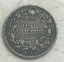 1845 Great Britain 1 One Shilling - Huge Hole