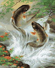"16X20"" DIY Paint By Number Kit Oil Painting On Canvas Fish Fly In the River 583"