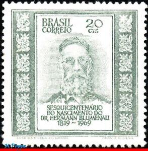 1149 BRAZIL 1969 HERMANN BLUMENAU, FOUNDER OF BLUMENAU SC MI# 1242 RHM C-661 MNH