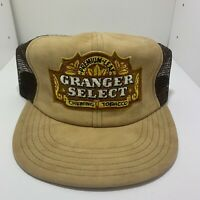 Vtg Granger Select Chewing Tobacco Brown Mesh Snapback Trucker Hat Cap USA Made