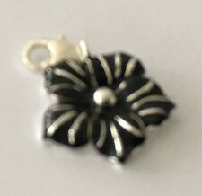 LOVELY BLACK, & SILVER FLOWER  CLIP-ON CHARM FOR BRACELETS  - 925  SILVER PLATE