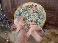 Shabby Chic Round Decorative Paper Mache Box Vintage Roses / Paris Theme