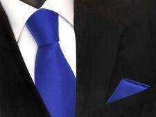 TigerTie Krawatte + Einstecktuch in blau royalblau uni - Binder Tie Polyester
