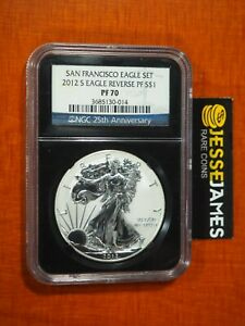 2012 S REVERSE PROOF SILVER EAGLE NGC PF70 FROM SAN FRANCISCO SET BLACK CORE