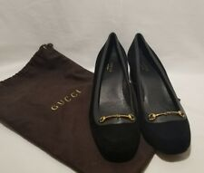 GUCCI CHARLOT Black Suede Cuban Heel Pumps Shoes Goldtone Horsebit Buckle 38/7½