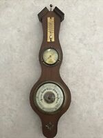 "Barometer Wooden Wall Hanging 13"" Temperature, Hydrometer, West Germany Nautical"