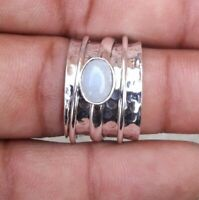 925 Sterling Silver Band Spinner Ring Jewelry Handmade Moonstone All Size DO-235