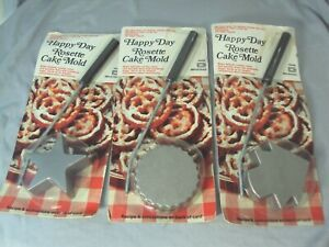 Rosette Happy Day cake mold pastry shell iron star circle tree Christmas set 3