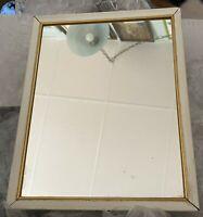 Vintage Wall Mirror Metal Gold Cream Hollywood Regency Small 8 x 10