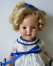 "SHIRLEY TEMPLE 1930'S IDEAL 17"" COMPOSITION DOLL w/ STAND UP & CHEER DRESS"