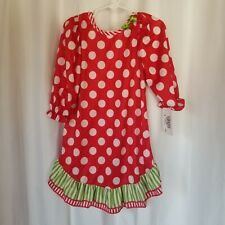 NEW Girls 2T LAURA DARE Christmas Red & White Polka Dot Nightgown - Green Detail