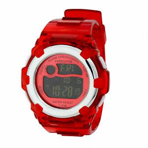 Hoops Orologio Donna Rotondo Neon Rosso Digitale Cinturino IN Caucciù Cronografo