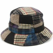 Patchwork Tweed Bucket Hat Summer Festival Wool Felt Blue Red