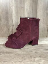REBECCA MINKOFF MAROON SUEDE ANKLE BOOTS SIZE 6.5 NEW