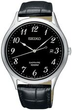 SEIKO SGEH77P1 Sapphire Crystal Black Strap Date Watch  WR 100M 2 Year Guarantee