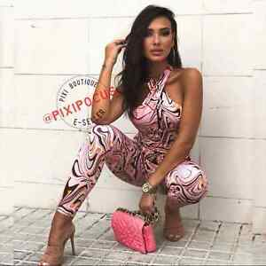 ZARA NEW LONG HALTER JUMPSUIT ABSTRACT PRINT STRETCHY PINK S - M 4770/049