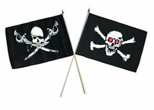"12x18 12""x18"" Wholesale Combo Pirate Brethren Coast & Red Eyes Skull Stick Flag"