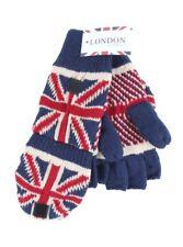 Union Jack Flag Beanie Fingerless Knit Knitted Soft Warm Winter Mittens Gloves