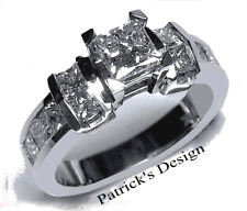 1.50ct Genuine Princess Cut Diamond Engagement Wedding Ring 14K White Gold P233G