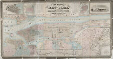 1857 Map New-York Brooklyn Williamsburgh Jersey City County Wall Poster Decor