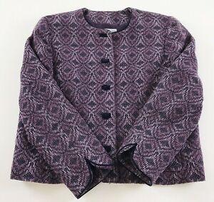 Pendleton Jacket Women's 16 Wool Cropped Purple Lined Pockets Coat Blazer EUC