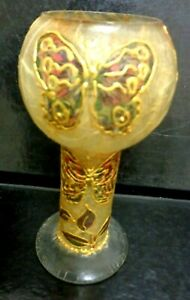 """ART GLASS BEAUTIFUL  """"BUTTERFLY"""" APPLIED  HAND PAINTED & MADE"""