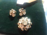 Vintage CORO SIGNED Large Rhinestones Clear Brooch / Matching Earrings
