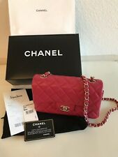82ac983e679125 New CHANEL Red Leather Mini Classic Flap Lamb Rectangle Crossbody Bag