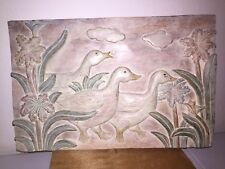 """Hanging Wall Plaque Resin Relief Art Ducks by the water  18"""" by 12"""" by 1-1/2"""""""