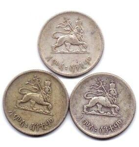 1930-36 Ethiopia 50 Cents Silver 3 Coins Hamsa Senteem, Haile Selassie