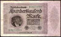 1923 Germany 100000 Mark Banknote * B 06519904 * gF * P-83 *