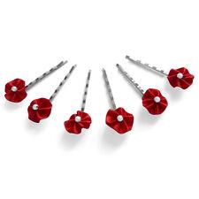 6 épingles pinces plates cheveux mariage froufrou satin rouge vif perle blanche