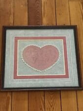 Vintage Victorian Repro Embossed Heart w Lace w Multiple Gray & Carnation Pink
