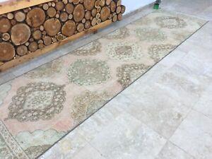 3'3''x12'5'' Antique Rug Carpet,Vintage Oushak Long Runner,Turkish Rug Runner