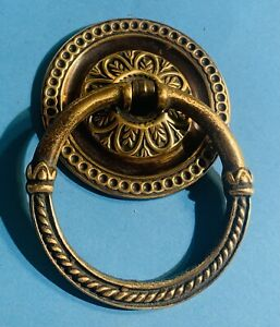 """2 1/2""""dia. Antique Drop ring pull brass French Hepplewhite Sheraton Drawer Pull"""