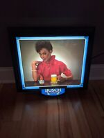 RARE Busch Beer Sign Black Americana Lighted Bar Sign Beautiful Woman Vintage
