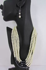 "New Women 5 Strands Fashion Necklace Imitation Pearl Beads 18"" Long +Earring Set"