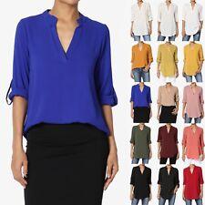 TheMogan Roll Tab 3/4 Sleeve Split Neck Blouse Office Shirtail Henley Shirt Top