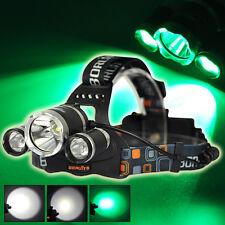 Jagd Boruit 8000LM Weiße/grüne T6+2R2 LED Taschenlampe Stirnlampe fischer fackel
