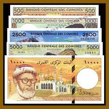 Comoros 500 1000 2500 5000 10000 Francs 5 Pcs Set 1986-1997 P.10/11/12/13/14 Unc