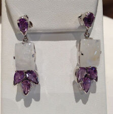 85 CTS!!! BEAUTIFUL NATURAL AMETHYST & BLUE FLASH MOONSTONE SILVER EARRINGS