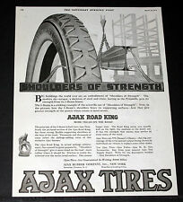 1919 OLD MAGAZINE PRINT AD, AJAX ROAD KING CAR TIRES, SHOULDERS OF STRENGTH!