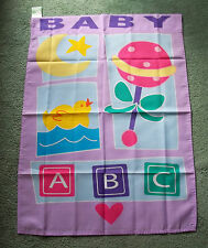 "Banner flag baby announcement decorative 28""x 40"" screen print cloth neutral new"