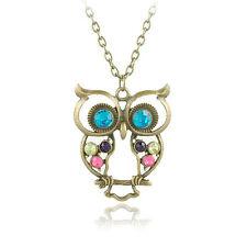 Vintage Bronze & Crystal Owl Pendant Long Necklace N209