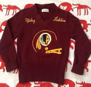 Vintage Redskins Washington Embroidery V Neck NFL Football Award Sweater! Rare!
