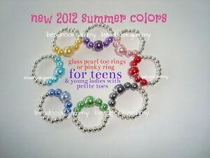 PETITE Glass Pearl Toe Ring or Pinky Ring - Vivid Colors to choose from, SO CUTE